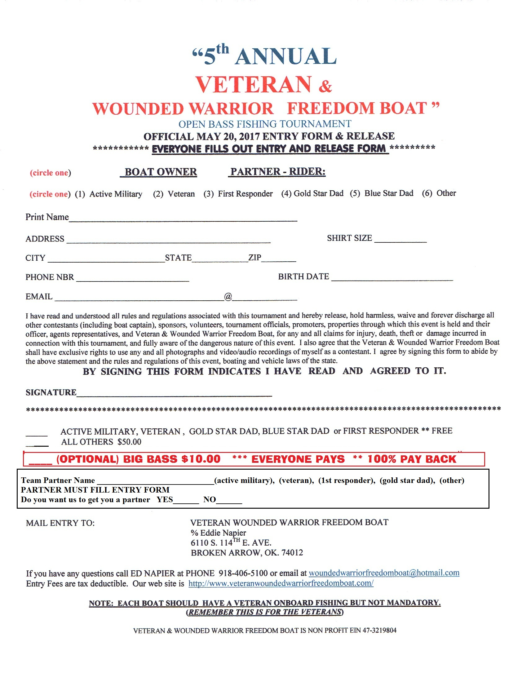 5th annual veteran wounded warrior freedom boat for Oklahoma fishing license cost